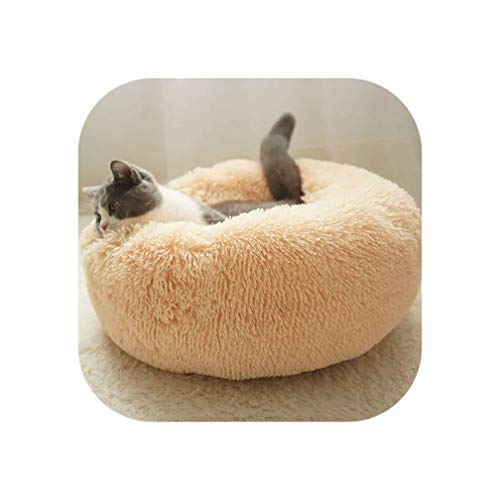 Round Dog Bed Washable Long Plush Dog Kennel Cat House Super Soft Cotton Mats Sofa for Dog Chihuahua Dog Basket pet Bed,Gold,40cm
