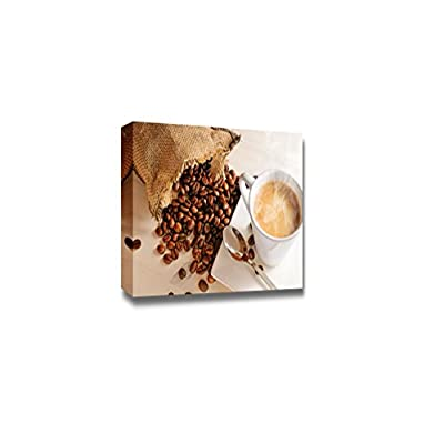 Canvas Prints Wall Art - Cup of Hot Coffee on White Wooden Table and Sack with Coffee Beans Closeup - 32