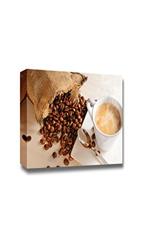 "Canvas Prints Wall Art - Cup of Hot Coffee on White Wooden Table and Sack with Coffee Beans Closeup - 32"" x 48"""
