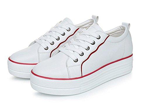 Muffin Schuhe Sportschuhe erhöhte Freizeitschuhe Dame Herbst white + red