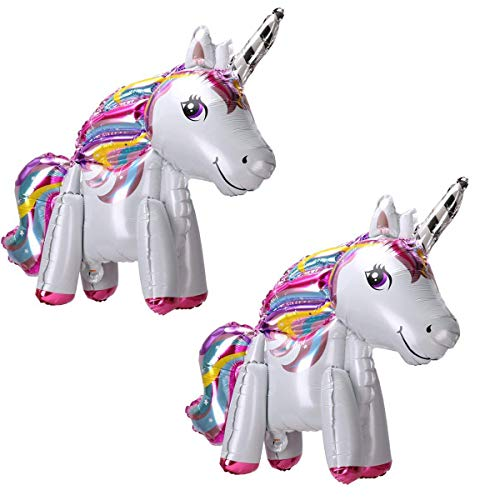Langxun 2 Pack 3D Foil Unicorn Balloons for Unicorn Party Supplies and Girls Birthday Decorations, Birthday Party Supplies for Women (Rainbow)