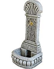 DEGARDEN AnaParra Fuente de Pared para Jardín o Exterior de hormigón-Piedra Artificial   Fuente de Agua de hormigón-Piedra 44 x36 x98cm.   Fuente de Pilón Exterior con Grifo, Color Ocre
