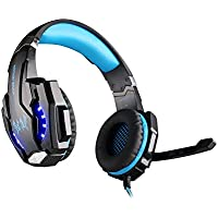KOTION EACH G9000 USB 7.1 Surround Sound Version Game Gaming Headphone Computer Headset Earphone Headband with Microphone LED Light Black+Blue
