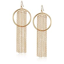 GUESS Women's Hot In The City Fringe Drop Earrings, Gold
