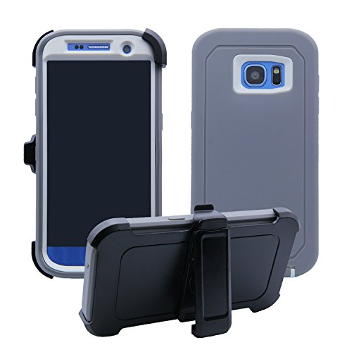 Samsung Galaxy S7 Edge Cover | Holster Case | Full Body Military Grade Edge-to-Edge Protection with carrying belt clip | Drop Proof Shockproof Dustproof | Grey / White