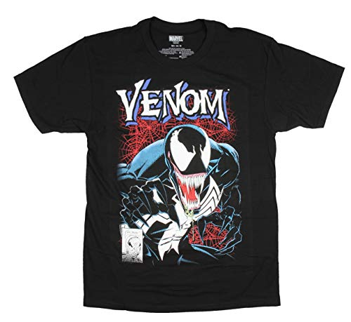 Marvel Mens Venom Shirt Lethal Protector 1# Comic Book Cover Distressed Adult T-Shirt (X-Small) Black