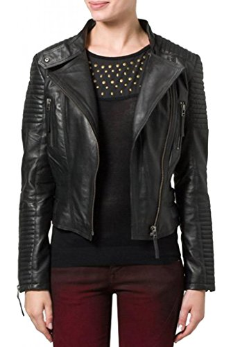 Leather4u Chaqueta de piel para mujer, piel de cordero, Negro LL516