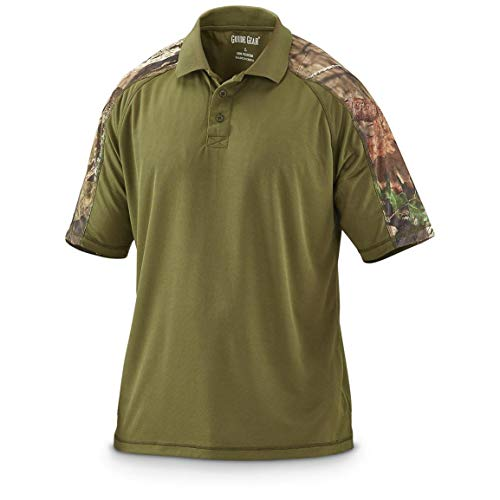 Guide Gear Men's Camo Performance Polo Shirt, Olive/Mossy Oak Break-Up Country, 2XL