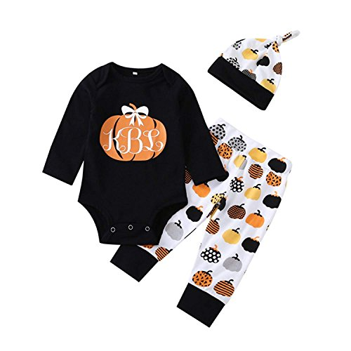 Newborn Infant Baby Girls Boys Long Sleeves Holloween Romper Pumpkin Pants Hat Baby Cloth Outfit for 0-24 Months (3-6 Months, -