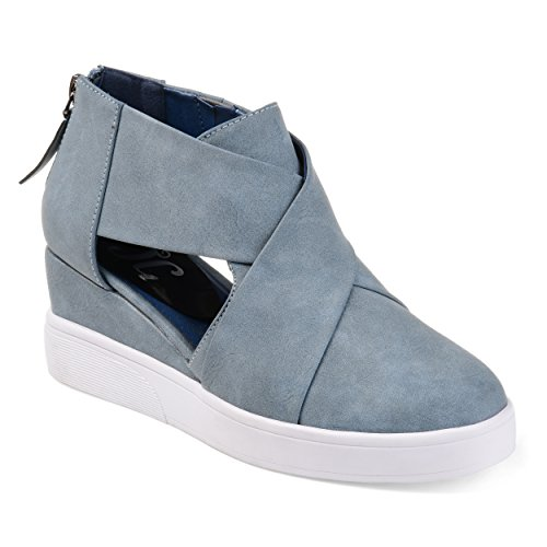 Journee Collection Womens Athleisure Criss-Cross D'Orsay Sneaker Wedges Blue, 8.5 Regular US ()