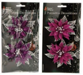 snow white christmas poinsettia flower decorations 2 packs pink purple - White Christmas Flower Decorations