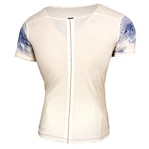 Rusty Neal Herren Rundhals T-Shirt Kurzarm Hemd Slim Fit Design Fashion 15045, Farbe:Weiß;Größe:S