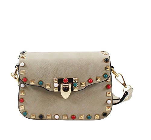 SHOULDER LADIES CROSSBODY DETAIL Apricot FAUX BAG STUDS LEATHER AZTEC NEW STRAP 8d7CFwFq