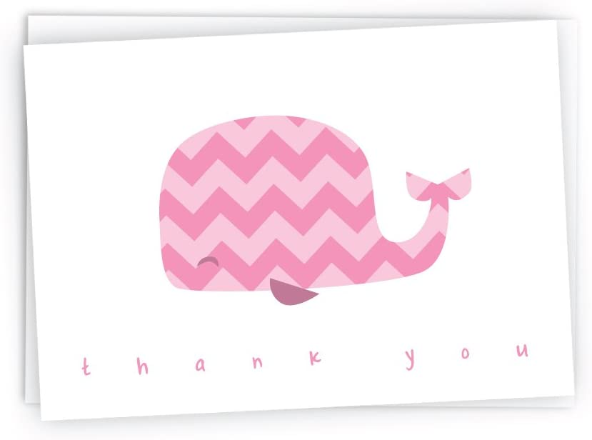 Colorful Chevron Whales Baby Thank You Note Cards – 48 Cards Envelopes Pink