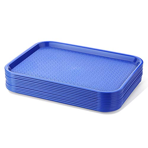 New Star Foodservice 24364 Blue Plastic Fast Food Tray, 10 by 14-Inch, Set of 12