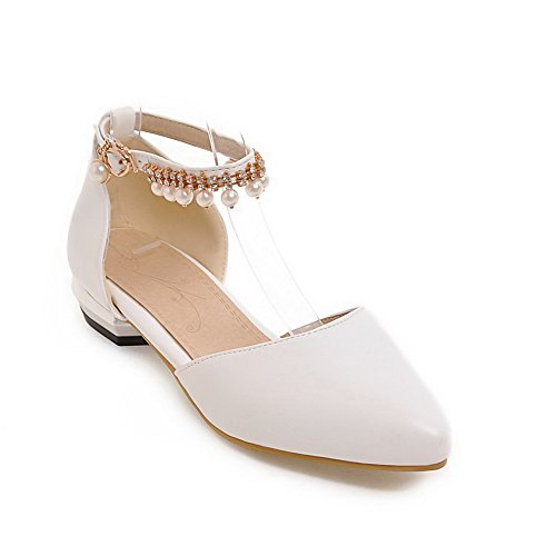BalaMasa Charms Urethane Uppers Cut Low Flats Shoes Womens Metal Buckles White rOwHrq