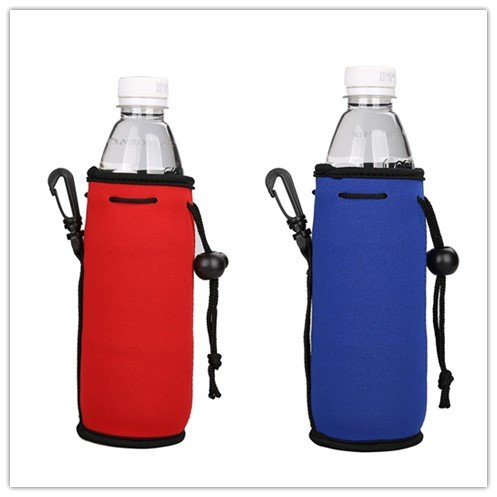 E - Living 500ML (16.9 OZ) Collapsible Neoprene Water Bottle Drawstring Cooler / Coolie / Cover / Insulator / Holder / Huggie / Sleeve - 2 Pack (13 Colors) (Red & Royal Blue)