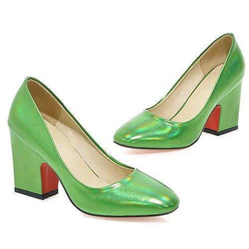 Chfso Moda Donna In Vernice Punta Squadrata Tacco Grosso Più Scarpe Con Tacco Verde