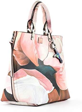 YNOT? Handbag with shoulder strap, reversible (macroflower/pink) MAC-004 - cm.42x27x14