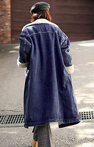 Schawrz Giubotto Relaxed Outerwear Bavero Festa Style Lunga Tempo Giacca Ragazze Addensare Maniche Streetwear Donna Fashion Invernali Eleganti Libero Giaccone Lunghe Hot Jeans 461qA4rn