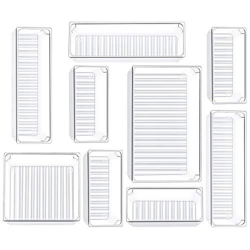 Kootek 9 Pcs Desk Drawer Organizer Trays 4-Size Bathroom Drawer Tray Dividers Plastic Vanity Organizers Storage Bins for…