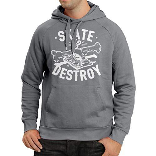 lepni.me Unisex Hoodie Skate and Destroy for Skateboarder, Skateboarding Lovers (Medium Graphite Multi Color) - Graphite Hockey Skates