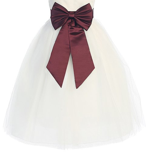 - Satin Preformed Bow Adjustable Sash Belt Burgundy M / Girls 2-6