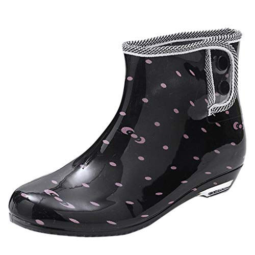 QueenMM Womens Ankle Rain Boots - Ladies Sweet Waterproof Winter Spring Garden Boot Pink ()