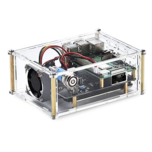 Acrylic Case with Cooling Fan for Raspberry Pi X820 V3.0 2.5 SATA HDD/SSD Shield Expansion Board Kit