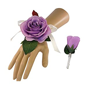 2pc Set - Wrist Corsage and Boutonniere Lilac Purple Artificial Roses 26