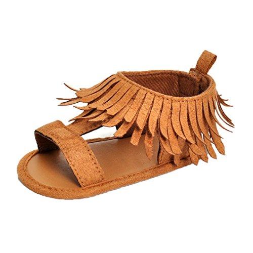 Zapatos de bebé, Switchali Recién nacido bebe niña verano Princesa zapatos Niñas Cuna Suela blanda Antideslizante Zapatillas borla vestir casual Calzado de deportes Sandalias Caqui