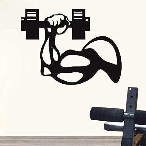 Etiqueta engomada del gimnasio Fitness Brazo Mancuernas Crossfit Muscle Decal Body-building Posters Vinilo Tatuajes