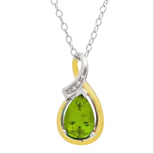 Sterling Silver and 10K Gold Peridot and Diamond Pendant (1ct ()