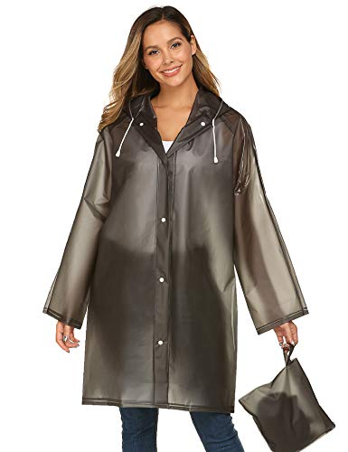 Rain Jacket with Hood in a Bag Lightweight Women Travel One-Piece Rainwear Black