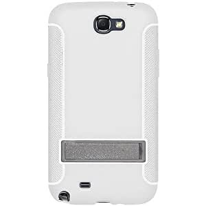 Amzer AMZ95211 TPU Skin Case Cover with Kickstand for Samsung Galaxy Note 2 II N7100 (Fits All Carriers) - 1 Pack - Retail Packaging - White
