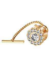 Digabi 10mm Black Tie Tack with Chains and Clutch with Rhinestone and Clear Crystal