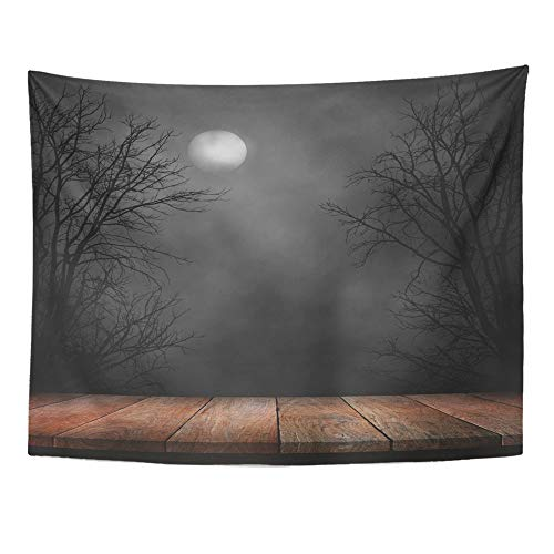 Emvency Tapestry Polyester Fabric Print Home Decor Forest Old Wood Table and Silhouette Dead Tree at Night for Halloween Creepy Wall Hanging Tapestry for Living Room Bedroom Dorm 60x80 Inches