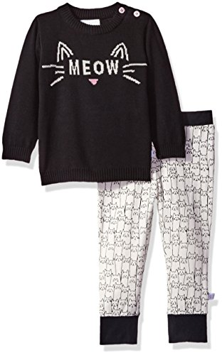 Rosie Pope Baby Sweater and Jersey Pant Set, Black/White,...