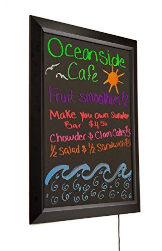 Displays2go Matte Black Plastic LED 22 x 28 Inches Message Board With 13 Different Flashing Light Settings, 22 x 28 x 1 Inches Horizontal or Vertical Wall Mounting (NBLWB22X28) by Displays2go