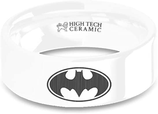 8 mm Batman Emblem Laser Engraved White Ceramic Wedding Band