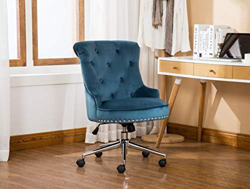 Porthos Home Jaron Office Chair with Tufted Wingback, Nail Head Trim, Adjustable Height, 360° Swivel and Velvet Upholstery (Stationary Footers and Roller Caster Wheels Included)