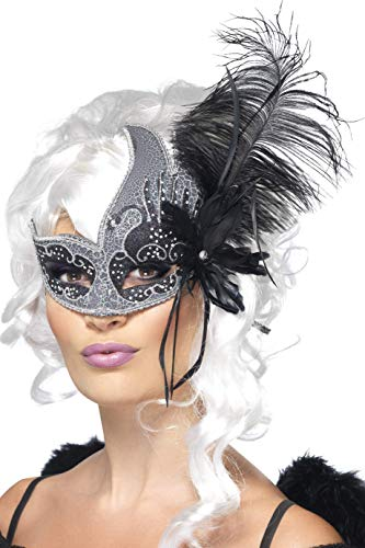 Smiffys Women's Masquerade Eye mask, Silver & Black with Feather, Dark Angel, One size, -