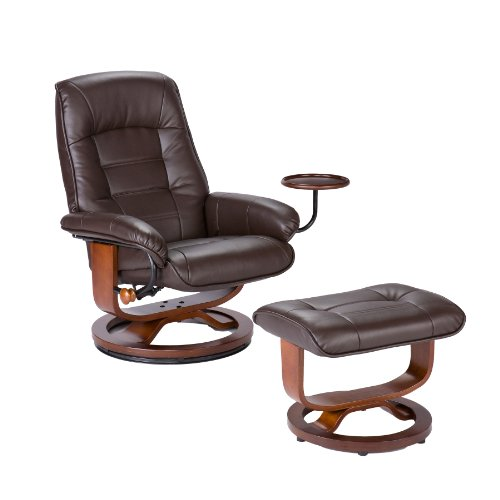 Bonded Leather Recliner and Ottoman - Coffee Brown (Benchmaster Recliner)