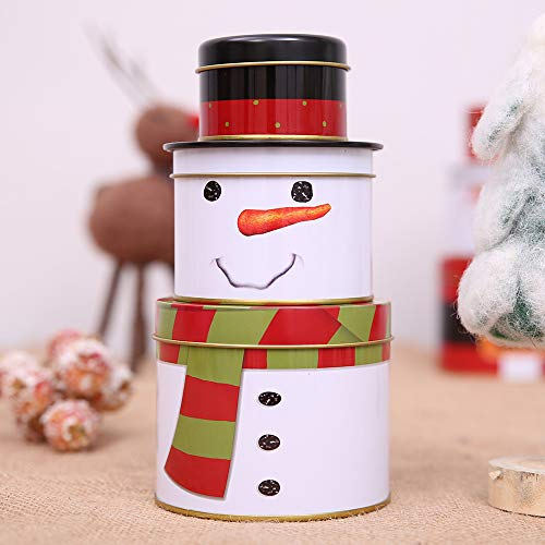 Tin Cookie Snowman (Fashionclubs Christmas Cookie Tins for Gift Giving,3 Set of Metal Nested Cookie Candy Storage Containners Jars Gift Tins with Lids,Snowman Design for Holiday Decor)