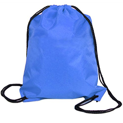 baskuwish Sports bags,Nylon Drawstring Cinch Sack Sport Travel Outdoor Backpack Bags (Blue) from baskuwish Women Bag