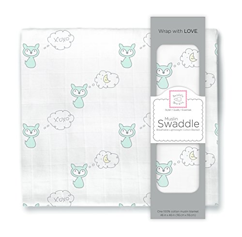 SwaddleDesigns Cotton Swaddle Blanket SeaCrystal