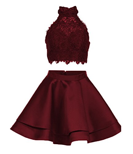 Libaosha diydressonline Satin Lace Halter Short Prom Dress Two Pieces Homecoming Dresses (US2, Burgundy) - Girls 2 Piece Dress