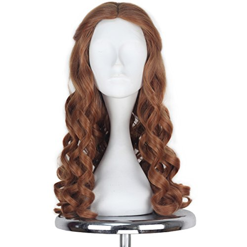 [Miss U Hair Lolita Halloween Long Brown Curly Movie Deluxe Cosplay Wig Women Adult C296] (Belle Halloween Costumes For Women)