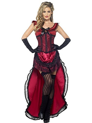 [Smiffy's Women's Western Authentic Brothel Babe Costume, Dress and Corset, Western, Serious Fun, Size 6-8,] (Womens Western Costumes)
