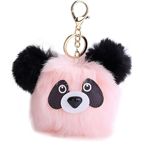 Fullfun Cute Panda/Fox/Owl Keychain Pendant Women Furry Key Rings (A, pink) (Retractable Motorola Mini Usb)
